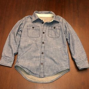 Boys Lined Denim Button Down